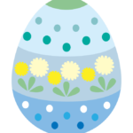 青色のかわいいイースターエッグのイラスト