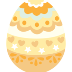 オレンジ色のかわいいイースターエッグのイラスト
