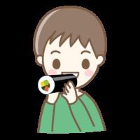 恵方巻きを丸かじりする男の子のイラスト