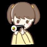 恵方巻きを丸かじりする女の子のイラスト