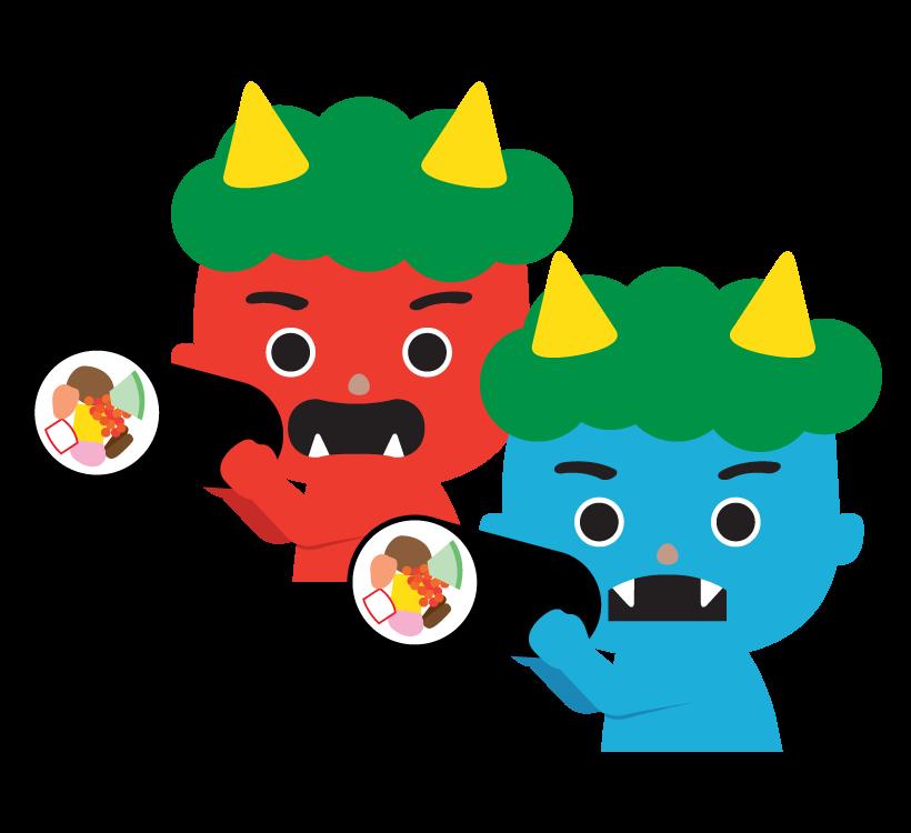 恵方巻きを食べる赤鬼と青鬼のイラスト