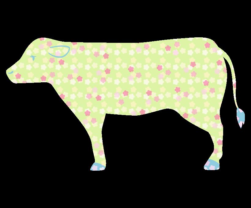 花柄模様の牛のイラスト