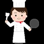 フライパンとシャベル持っている洋食のシェフのイラスト