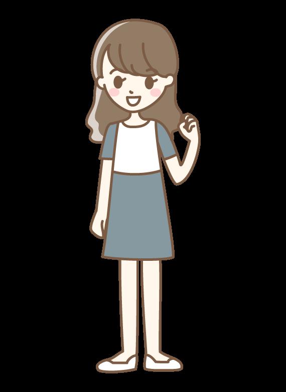 ガッツポーズをする若い女性のイラスト