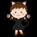 ハロウィンで猫に仮装した女の子のイラスト