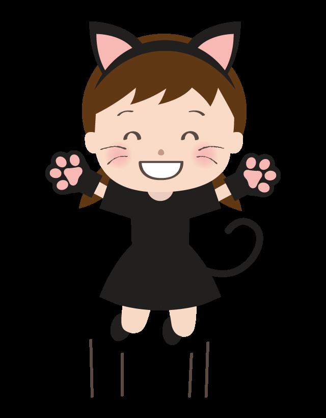ハロウィンで猫に仮装してジャンプしている女の子のイラスト