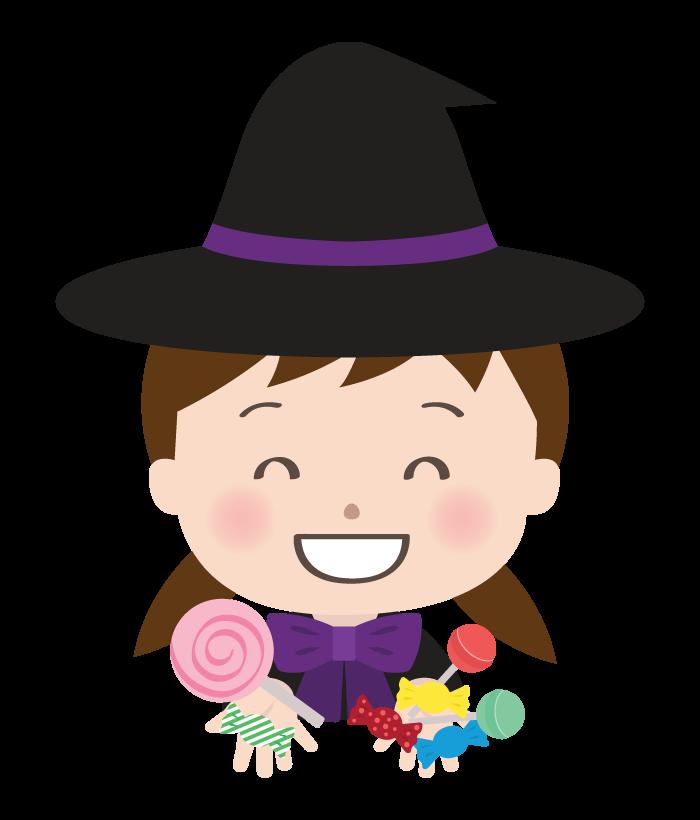 飴をたくさんもらってい魔女のハロウィン仮装をした女の子のイラスト