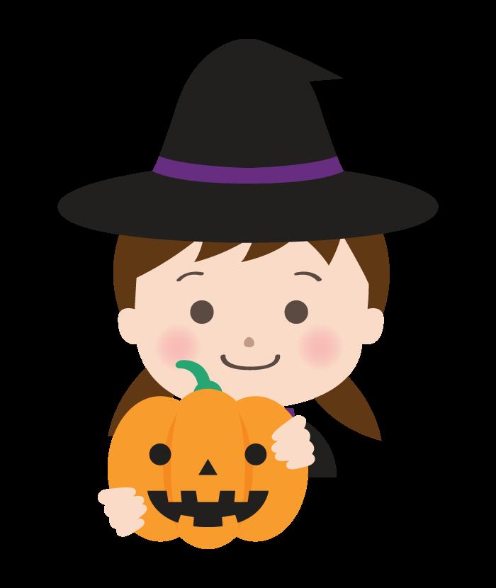 魔女のハロウィン仮装をした女の子とかぼちゃのイラスト