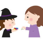 ハロウィンで飴をもらう魔女の女の子のイラスト