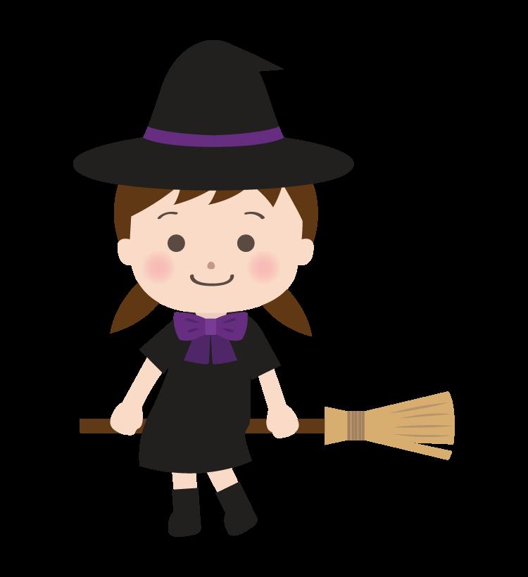 ハロウィン・ほうきに座っている魔女の女の子のイラスト