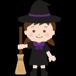 ハロウィン・ほうきと魔女の女の子のイラスト