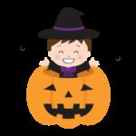 かぼちゃのお化けの中に貼った魔女の女の子のイラスト