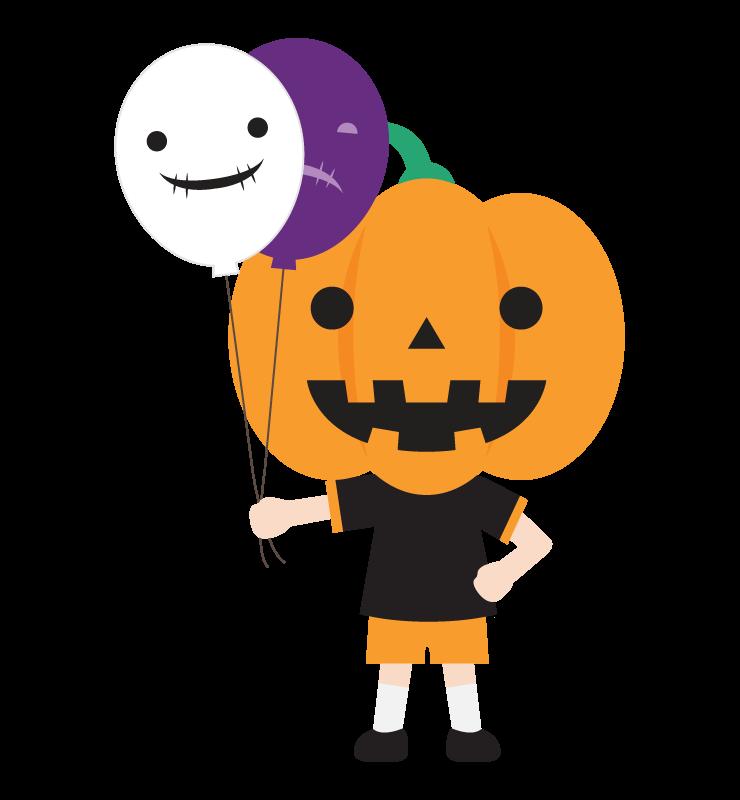 ハロウィンでかぼちゃのお化けに仮装した男の子のイラスト