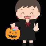 ハロウィンで飴を持ってドラキュラに仮装している男の子のイラスト