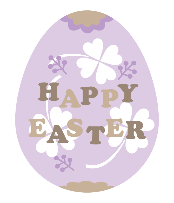 「HAPPY EASTER」の文字入りの紫色のイースターエッグのイラスト