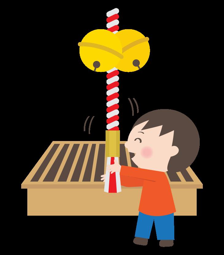 初詣でお参りをする男の子のイラスト