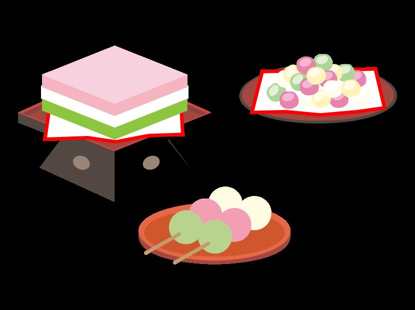 菱餅/ひなあられ/三色団子のイラスト