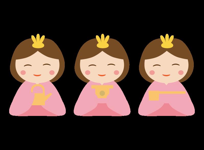 ひな飾り・三人官女のイラスト