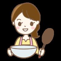 調理する主婦のイラスト