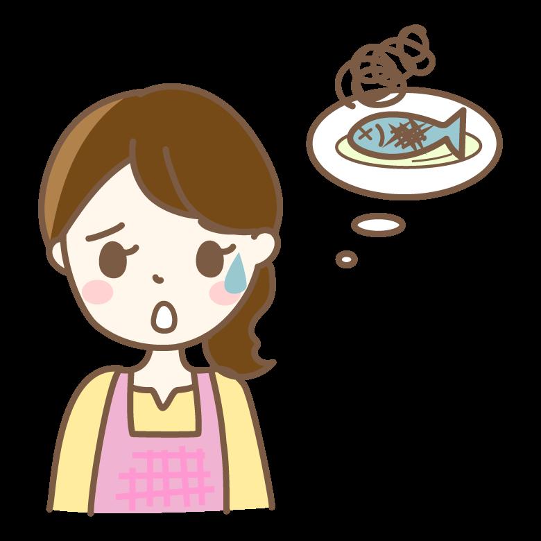 料理に失敗してしまった主婦のイラスト