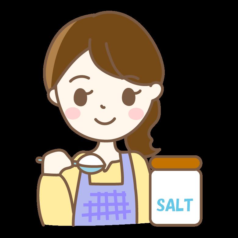 塩を量る主婦のイラスト