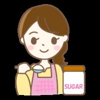 砂糖を量る主婦のイラスト