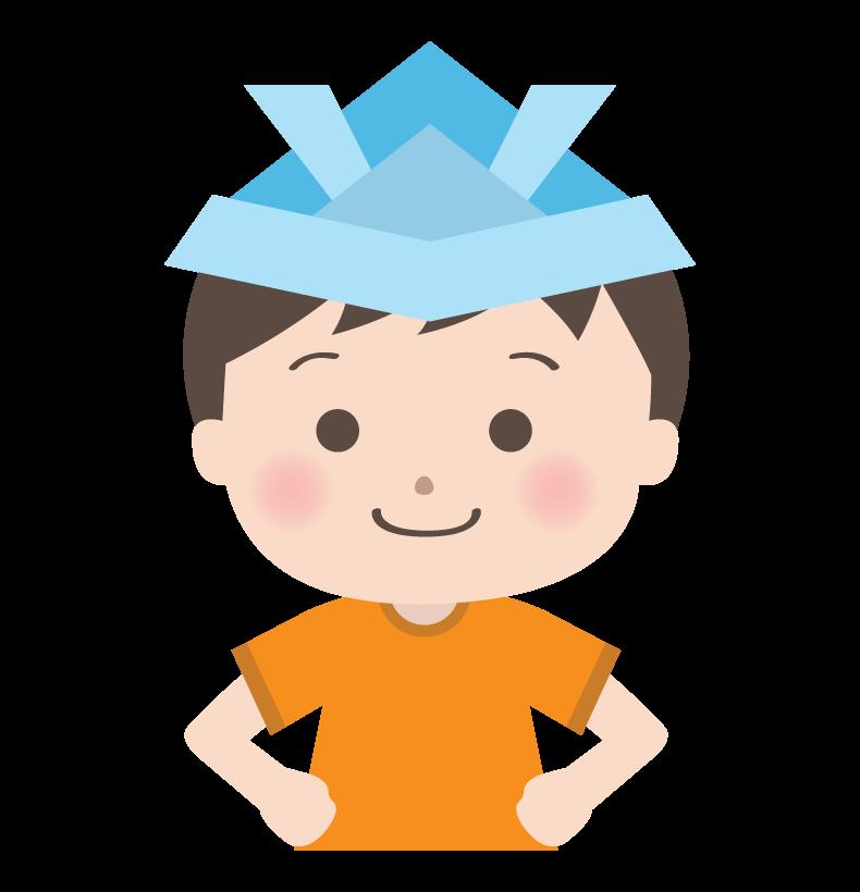 こどもの日・兜帽子をかぶっている男の子のイラスト