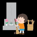 お墓掃除をする男の子のイラスト