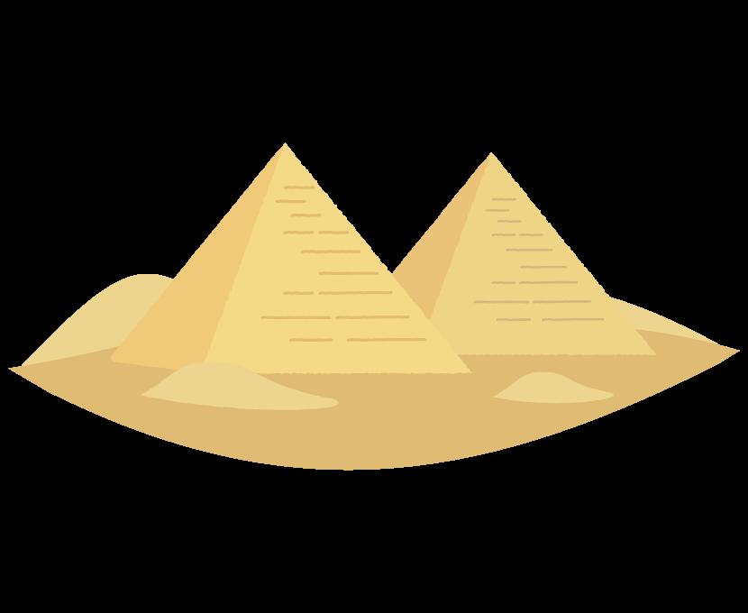 砂漠とピラミッドのイラスト