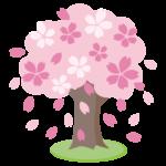 桜の木と桜吹雪のイラスト