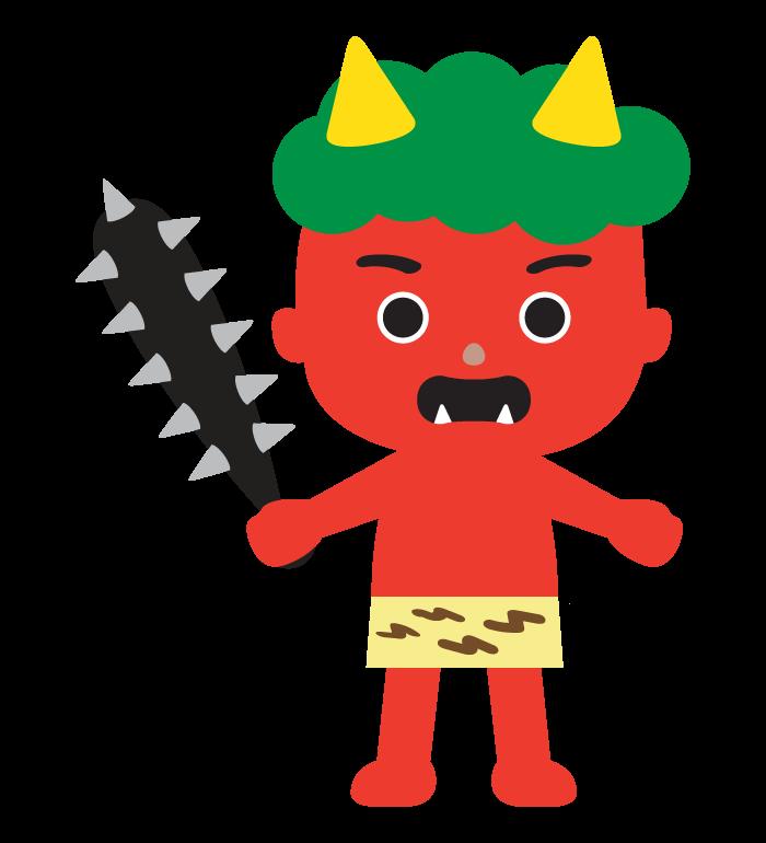 金棒を持った赤鬼のイラスト