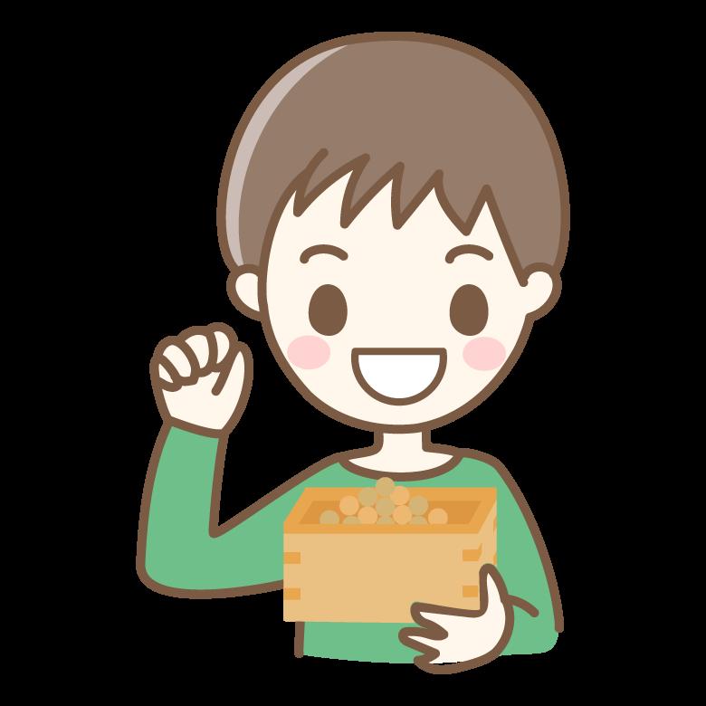 節分の豆まきをする男の子のイラスト