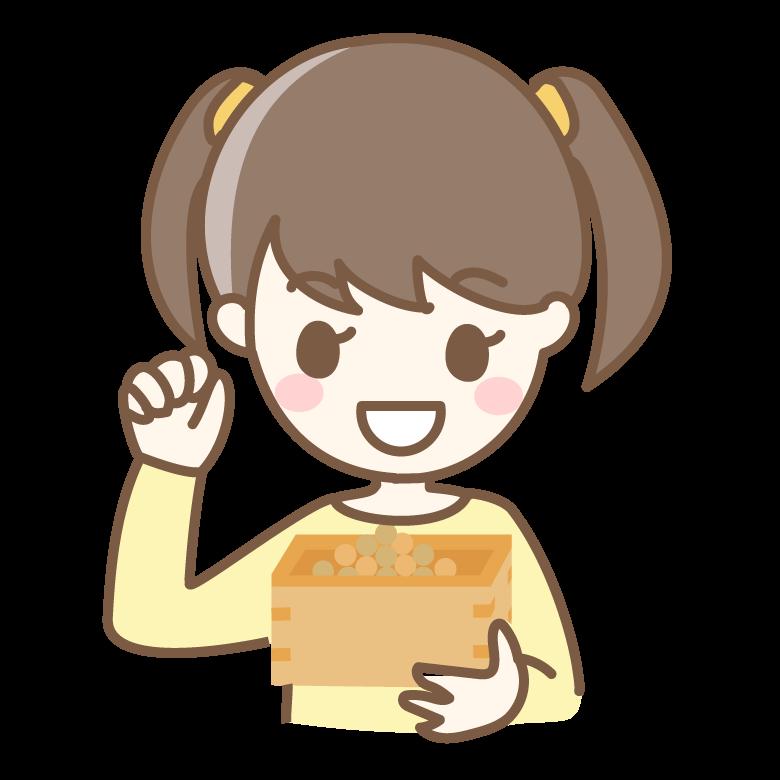 節分の豆まきをする女の子のイラスト