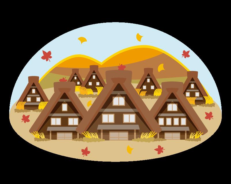 秋の茅葺屋根・古い民家のイラスト