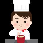 鍋料理をしている洋食のシェフのイラスト