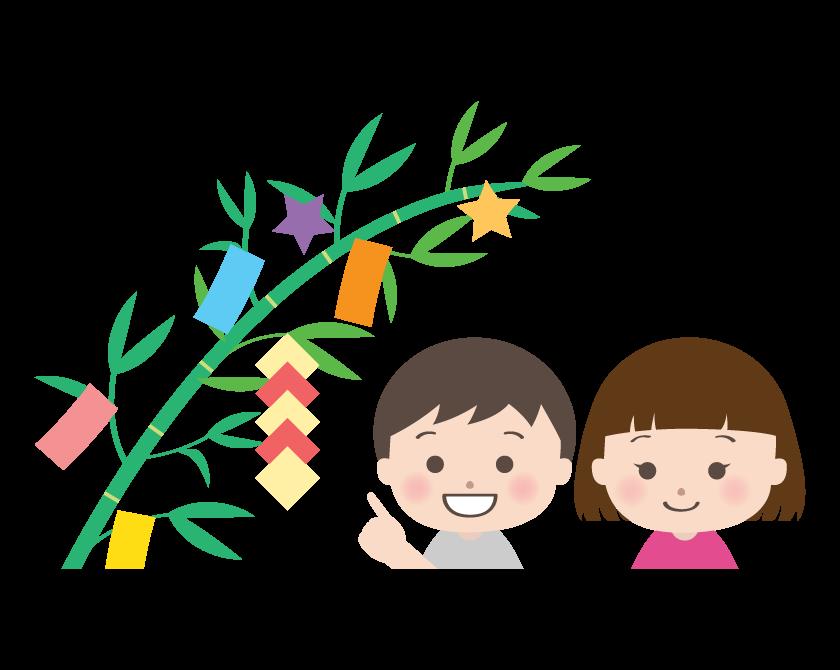 七夕飾りと子どものイラスト