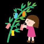 七夕の笹飾りに短冊を吊るす女の子のイラスト