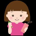 七夕の短冊に願いを書く女の子のイラスト