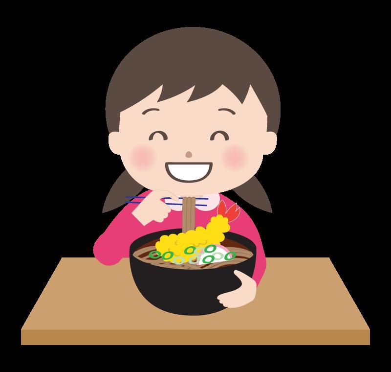 年越しそばを食べる女の子のイラスト