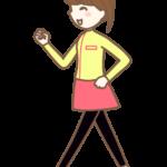 笑顔でウォーキングをする女性のイラスト