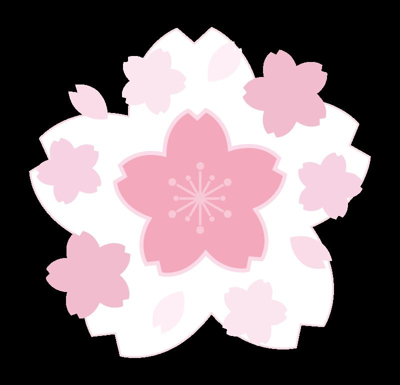 白と薄いピンク色の桜のイラスト