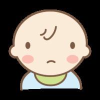 きょとんとした表情をする赤ちゃんのイラスト