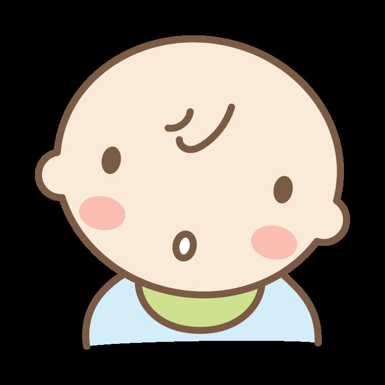 不思議そうな顔をする赤ちゃんのイラスト