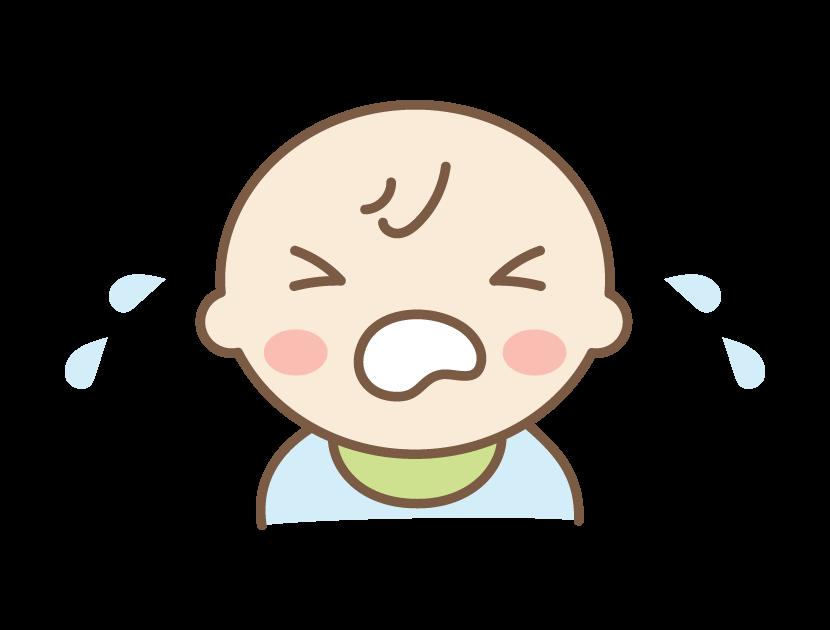 大泣きしている赤ちゃんのイラスト