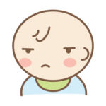 眠そうな表情の赤ちゃんのイラスト