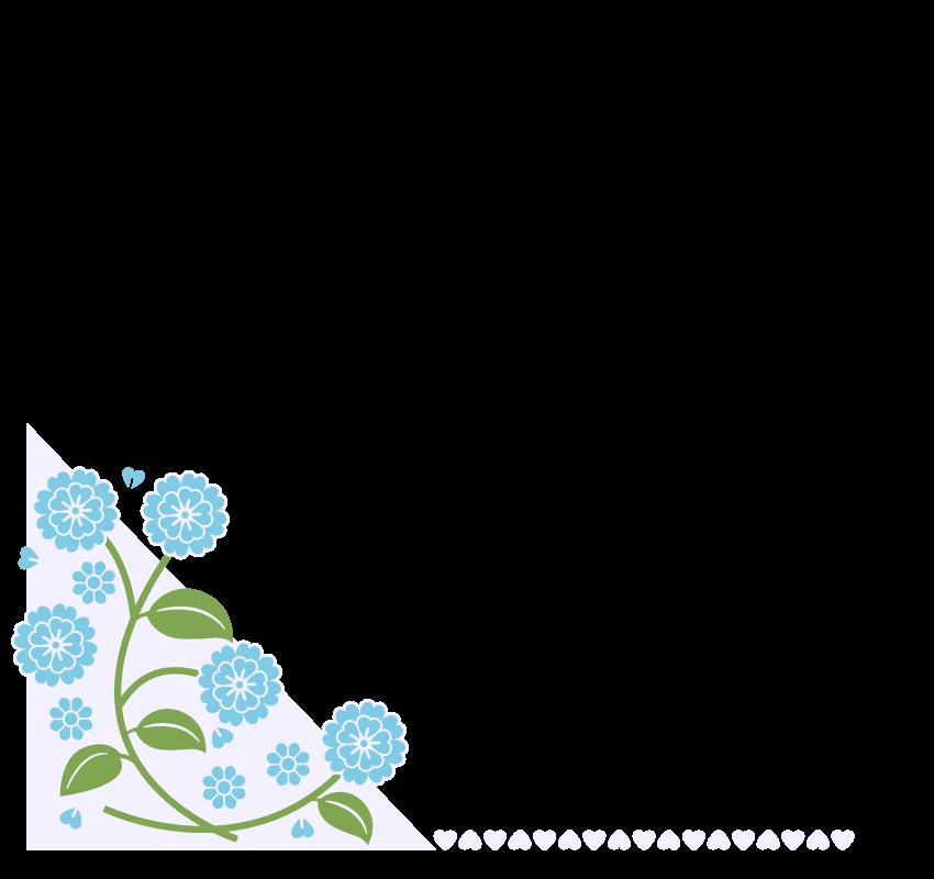 青い花とハートのフレーム・飾り枠のイラスト