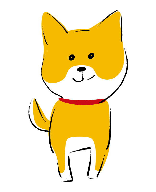 手書き風のかわいい柴犬(正面)のイラスト