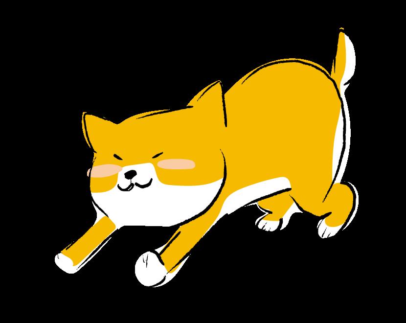 手書き風の背伸びをするかわいい柴犬のイラスト