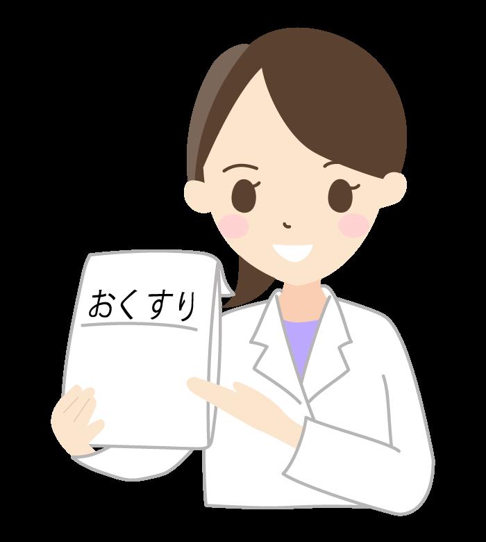 薬を出す薬剤師(女性)のイラスト