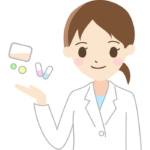 薬と薬剤師(女性)のイラスト